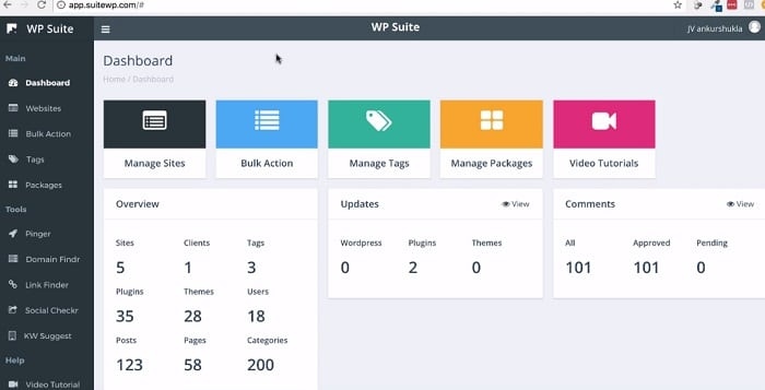 Wp suite dashboard