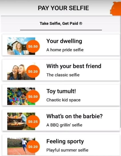 Paid by selfie