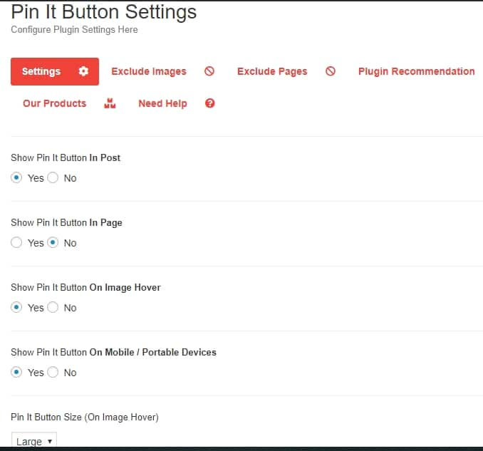 Pinterest Pin it button plugin settings