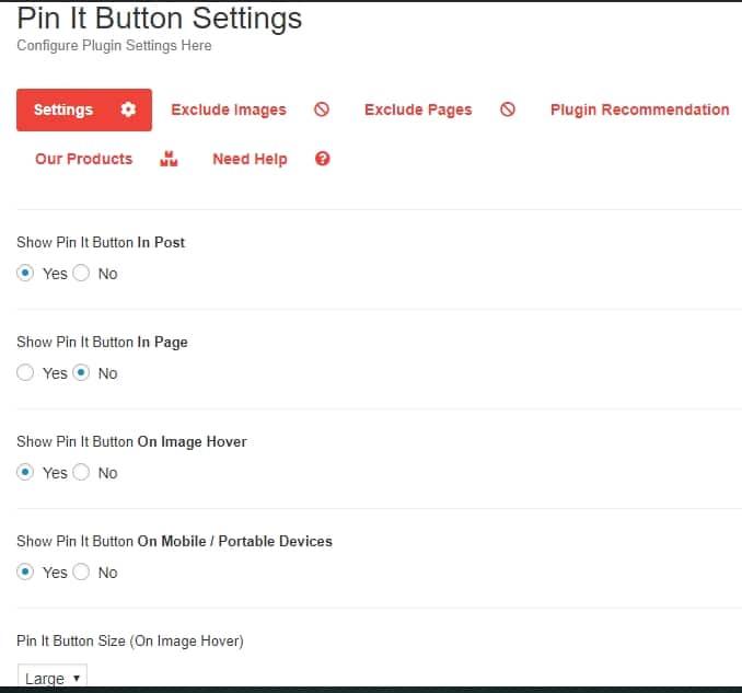 Pinterest Pin it button plugin settings