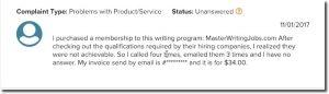 master writing job complaint