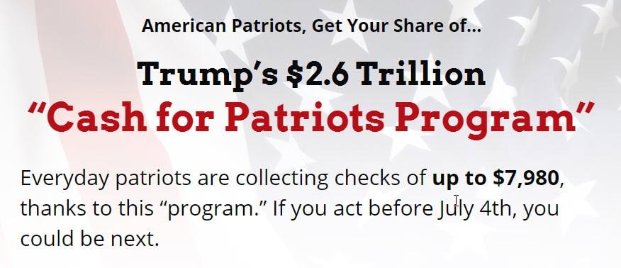 Cash for patriots  program promotion