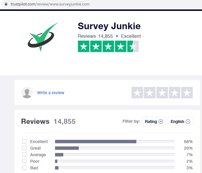 survey junkie trustpilot ratings